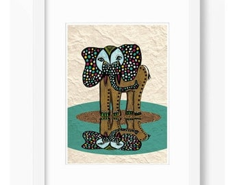 ELEPHANT MIRROW ILLUSTRATION Children Print  Wall Decor Nursery Room Art  Decor Home Decor Affiche Friends Art Nature