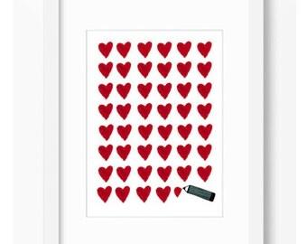HEART LETTER Illustration Love Room Decor Affiche Home Decor Wall decor