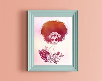 sugar skull girl watercolor Wall Art ,Printable Art, Inspirational Quote, Typography Art, Digital Prints,Wall Art Prints, Digital Download