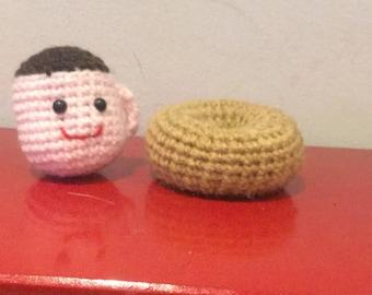 Crochet Amigurumi Coffee Cup and Doughnut Pincushion