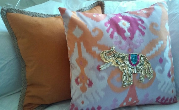 Sequin Elephant Throw Pillow : Sequin Elephant Decorative COVER for Throw Pillow 18 by hautepiece