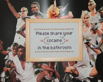 FINISHED Please share your cocaine in the bathroom sign, coke in the bathroom sign, funny subversive bathroom cross stitch,housewarming gift