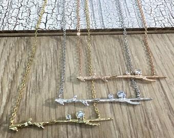 SALE Branch Necklace, Sliver Twig Necklace, Gold Twig Necklace, Twig Jewelry, CZ Stone, Tree branch Necklace, Trendy Necklace, Gift Idea