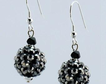 Black and Silver Disco Ball Earrings - E2345
