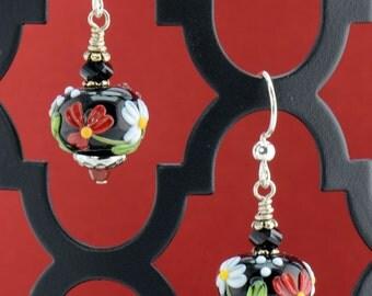 Black Red Green White Silver Lampwork Earrings - E2505