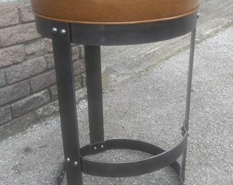 Industrial Stool / Bar Stool - Riveted industrial steampunk style barstool - The Boilershop Stool