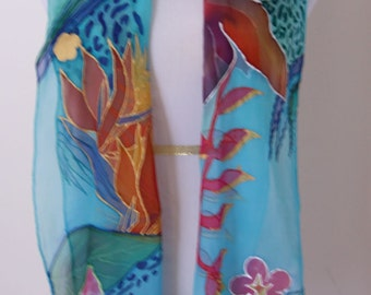 Bird of paradise, Hand painted silk scarf, chiffon, long scarf