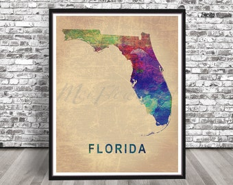 Vintage Florida watercolor map watercolour, Distressed Florida state painting Map Miami Tampa print art Illustration cityscape rainbow FL