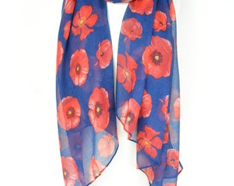 Navy Blue Red Poppy Floral Print Scarf/Wrap/Shawl/Cover Up/Remembrance Day