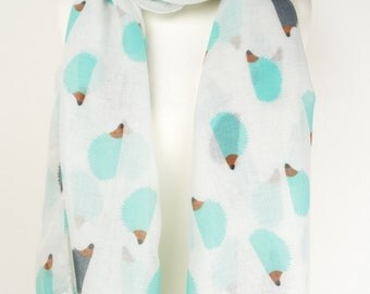 White Hedgehog Print Scarf/Wrap/Shawl/Cover Up/Scarves/Gift/Cute