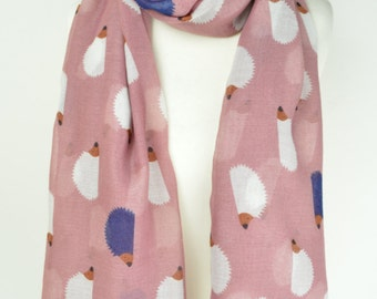Pink Hedgehog Print Scarf/Wrap/Shawl/Cover Up/Scarves/Gift/Cute