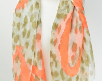 Orange Graffiti Heart Animal Print Scarf/Wrap/Shawl/Cover Up/Scarves