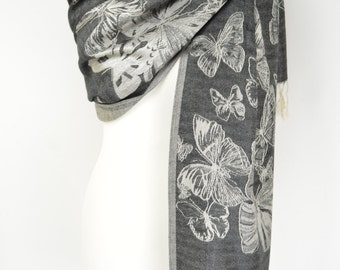 Black Butterfly Pashmina Shawl/Wrap/Scarf/Cover-Up-Formal/Wedding/Gift/Party/Mother of the Bride/Bridesmaid/Butterflies