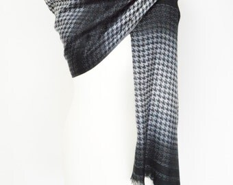 Houndstooth Silver Black Pashmina Shawl/Wrap/Scarf/Cover Up/Formal/Wedding/Gift/Party/Mother of the Bride/Office/Work/Elegant/Gift for Her