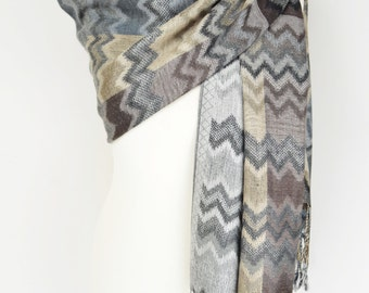 Zig Zag Chevron Embroidered Pashmina Shawl/Wrap/Scarf/CoverUp/Formal/Wedding/Gift/Party/Mother of the Bride/Bridesmaid/Gift for Her/Winter