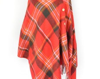 Red Tartan Plaid Check Blanket Knit Checked Poncho Scarf/Wrap/Winter Shawl/Oversize Scarf/Chunky Scarf/Christmas Present/Teen Gift/Button