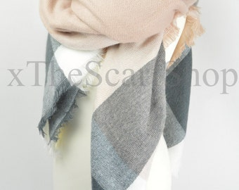 Grey & Pink Oversize Square Check Blanket Knit Checkered Scarf,Wrap,Winter Shawl,Oversize Scarf,Chunky Scarf,Christmas Present,Teen Gift