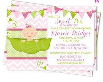 Baby Girl Sweet Pea Printable Invitation, 4x6 or 5x7 Custom Baby Shower Invitation, Girl Sweet Pea Printable Baby Shower Invitation
