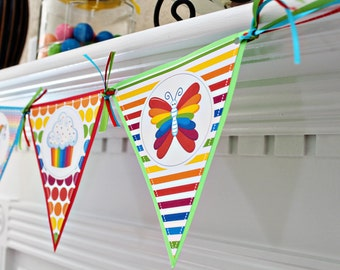 Rainbow Pretty Printable Party Banner, Printable Rainbow Happy Birthday Banner, Rainbow Party Banner, Triangle Banner, Rainbow Banner