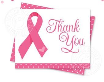 Pink Ribbon Breast Cancer Awareness Printable Thank You, 4X5 Thank You Note, Printable Thank You, Pink Ribbon Thank You Card, Folding