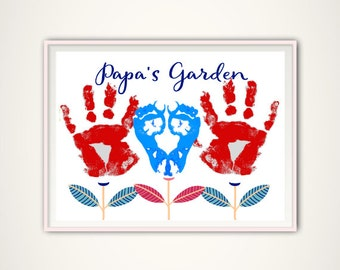 Papa Gifts, Gifts for Papa from Grandkids, Personalized Gift From Kids, INSTANT Download, Personalized Papa Handprint Art, Christmas Gift