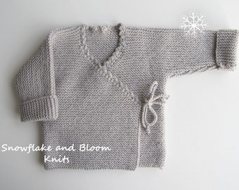 Hand knitted baby wrap cardigan - 0-3 Months