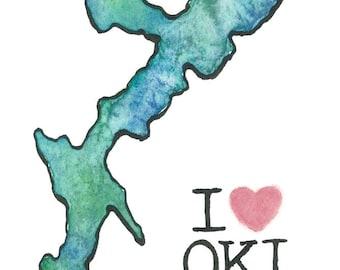 Love Okinawa Original Watercolor & Ink Painting