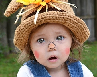 Toddler Scarecrow Hat/ Halloween Costume/ Baby Halloween Hat/ Baby Scarecrow