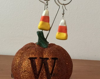 Candy Corn Earrings / Polymer Clay Earrings / Halloween Candy Earrings