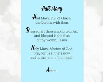 Hail Mary Prayer Card, Catholic Prayer Card, Hail Mary Card, Catholic Printable