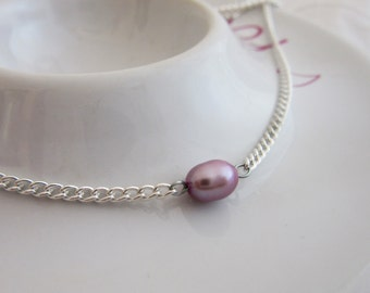 SALE, Mini Lilac Freshwater Pearl Bead Necklace on 16 Inch Silver Plated Chain, June Birthstone, Mini Pearl, Valentines Gift,Wife,Girlfriend