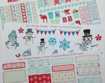 Winter Snowflakes & Snowmen Weekly Planner Stickers for Inkwell Press and horizontal AND vertical planners