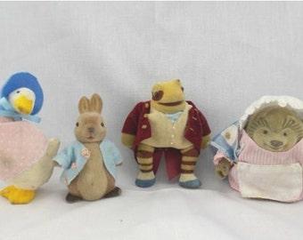 Vintage Beatrix Potter Flocked Figurines.