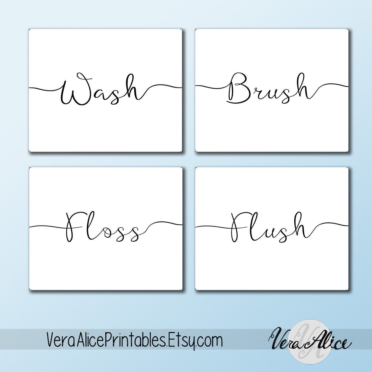 Wall Art Printable Set Bathroom Sayings Wash Brush Floss