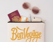 Passport Holder  Passport Wallet  Travel Wallet  Travel Makeup Pouch  Canvas Makeup Bag  Bon Voyage Pouch  Alphabet Bags