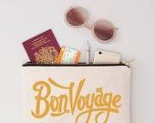 Passport Holder - Passport Wallet - Travel Wallet - Travel Makeup Pouch - Canvas Makeup Bag - Bon Voyage Pouch - Alphabet Bags