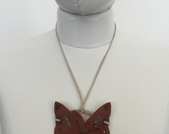 Handmade Leather Butterfly Necklace