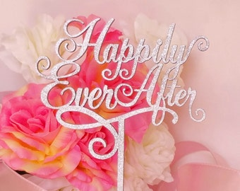 Happily Ever After Wedding Cake Topper,  A Larger Elegant Heirloom Quality topper - JOLIÉ COLLECTION - AJP301