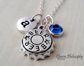 Beer Bottle Cap Necklace - Beer Jewelry - Alcohol Necklace -  Monogram Personalized Initial and Birthstone
