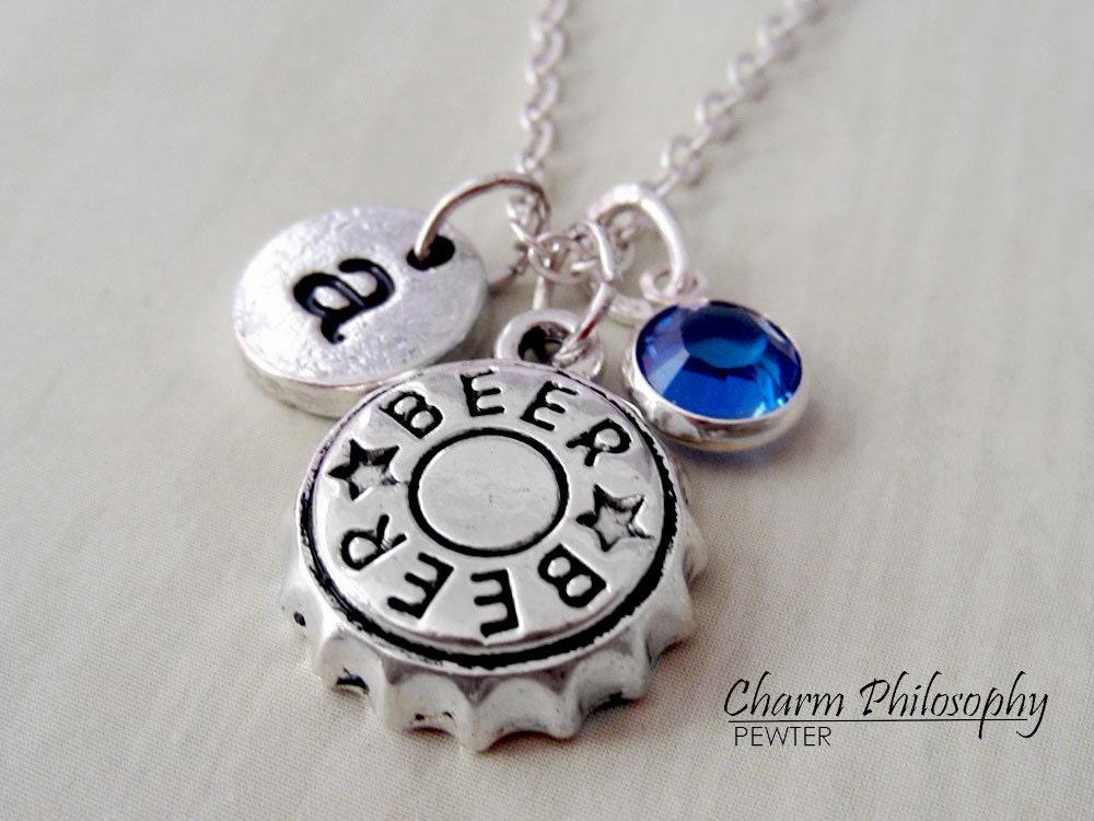 Beer bottle cap necklace beer jewelry alcohol necklace for Beer cap jewelry
