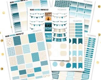 DELUXE NOVEMBER Monthly Kit // Teal Tan (Printable PDF Jpeg) Erin Condren Scrapbooking Plum Paper Planner Filofax Inkwell Press Stickers