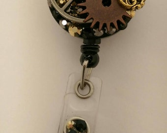 Steam Punk Badge Reel - Retractable ID Badge Holder, Name Tag