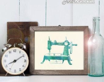 Vintage Sewing Machine Art - 8x10 printable digital file - INSTANT DOWNLOAD!