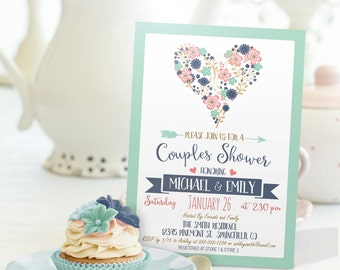 Blue, Pink, Mint Green Couples Shower Invitation - Personalized Printable DIGITAL FILE