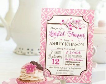 Pink Cherry Blossom Bridal Shower Invitation - Personalized Printable DIGITAL FILE