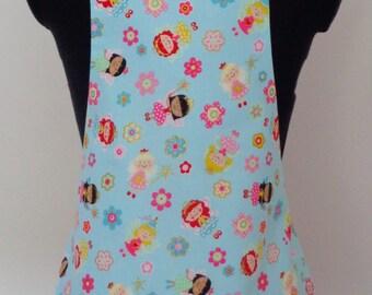 Girls Fairy Apron | Kids Blue Fabric Apron | Fairy Fabric Apron | Fairies and Flowers