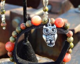 Unique Owl Bracelet and Earrings