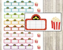 Movie marquee popcorn printable planner stickers for Erin Condren Lifeplanner, Filofax, Plum Paper Planner, scrapbooking / INSTANT DOWNLOAD