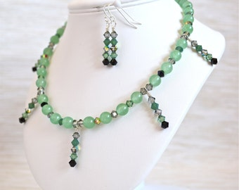 Green Aventurine, Crystal and Sterling Silver Necklace & Earrings Set