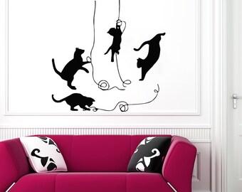 Cat Wall Art cat wall decals | etsy